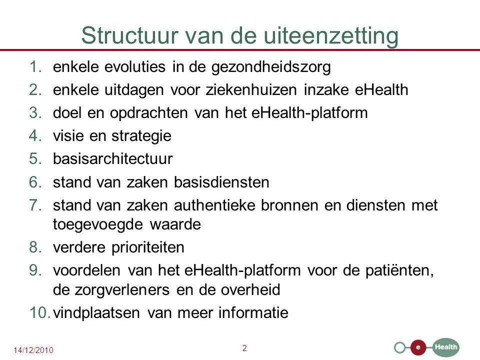 2 14/12/2010 Structuur van de uiteenzetting 1.enkele evoluties in de gezondheidszorg 2.enkele uitdagen voor ziekenhuizen inzake eHealth 3.doel en opdr