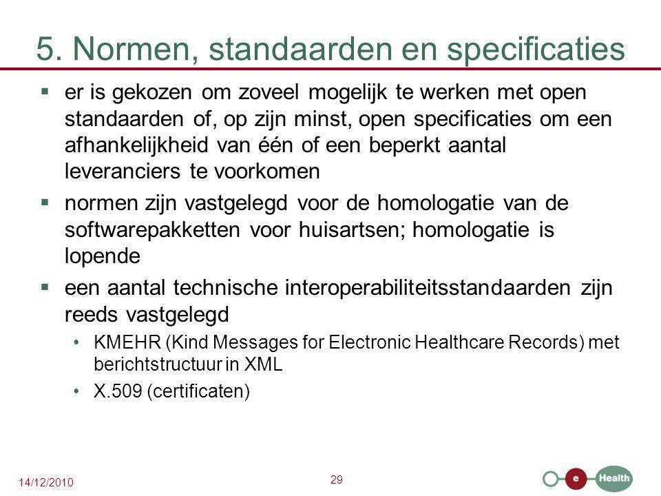 29 14/12/2010 5. Normen, standaarden en specificaties  er is gekozen om zoveel mogelijk te werken met open standaarden of, op zijn minst, open specif