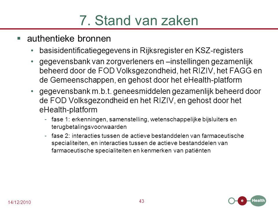 43 14/12/2010 7. Stand van zaken  authentieke bronnen basisidentificatiegegevens in Rijksregister en KSZ-registers gegevensbank van zorgverleners en