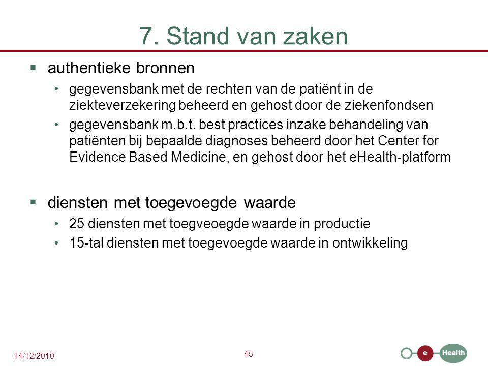 45 14/12/2010 7. Stand van zaken  authentieke bronnen gegevensbank met de rechten van de patiënt in de ziekteverzekering beheerd en gehost door de zi