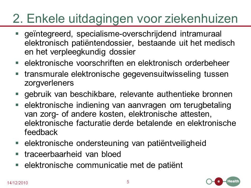 5 14/12/2010 2. Enkele uitdagingen voor ziekenhuizen  geïntegreerd, specialisme-overschrijdend intramuraal elektronisch patiëntendossier, bestaande u