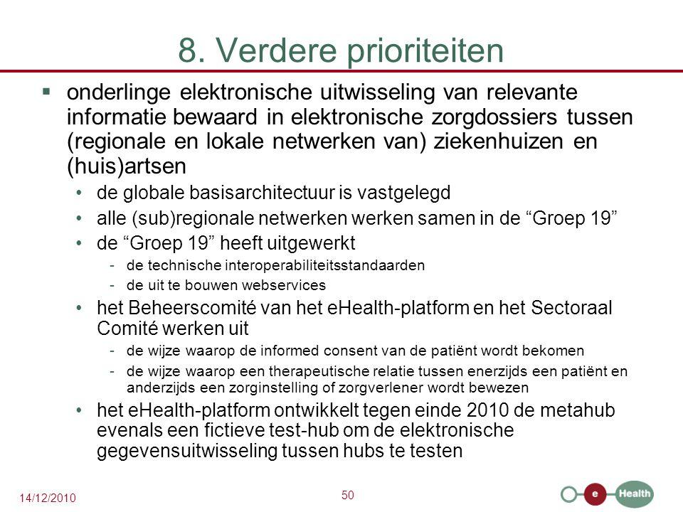 50 14/12/2010 8. Verdere prioriteiten  onderlinge elektronische uitwisseling van relevante informatie bewaard in elektronische zorgdossiers tussen (r