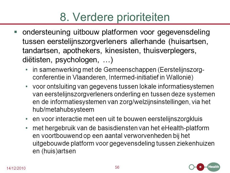 56 14/12/2010 8. Verdere prioriteiten  ondersteuning uitbouw platformen voor gegevensdeling tussen eerstelijnszorgverleners allerhande (huisartsen, t
