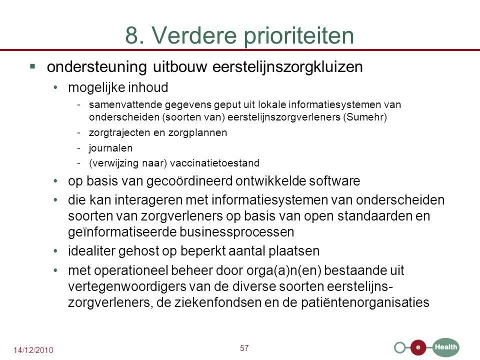 57 14/12/2010 8. Verdere prioriteiten  ondersteuning uitbouw eerstelijnszorgkluizen mogelijke inhoud -samenvattende gegevens geput uit lokale informa