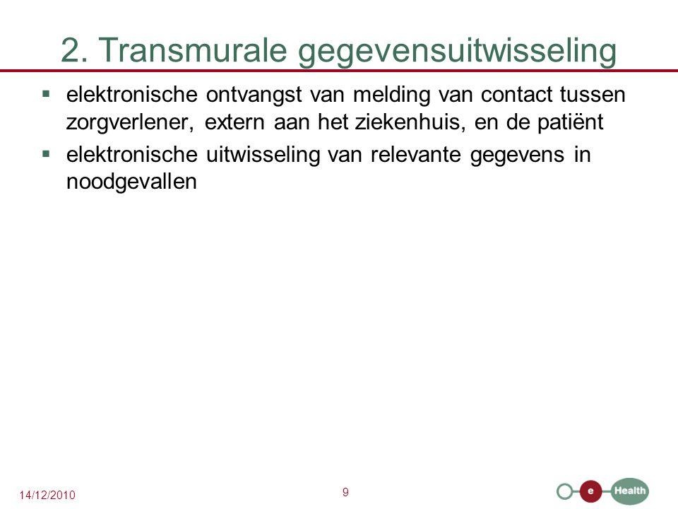 9 14/12/2010 2. Transmurale gegevensuitwisseling  elektronische ontvangst van melding van contact tussen zorgverlener, extern aan het ziekenhuis, en