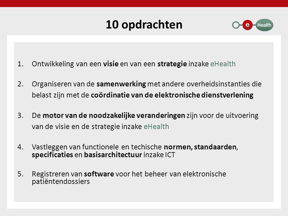 Diensten met toegevoegde waarde Platform voor gegevensuitwisseling tussen het Vlaams Agentschap voor Zorg en Gezondheid en de door haar erkende diensten (VESTA) Ondersteuning van het intern elektronisch zorgvoorschrift in 98 ziekenhuizen (87 % van de ziekenhuizen) Elektronische geboorteaangifte – eBirth Raadpleging van de wilsbeschikkingen inzake euthanasie Elektronische invoer en raadpleging van de evaluatie van de personen met een handicap in het informatiesysteem van de FOD Sociale Zekerheid (Medic-e) Online registratiesysteem voor de private voorzieningen uit de sector bijzondere jeugdzorg in Vlaanderen