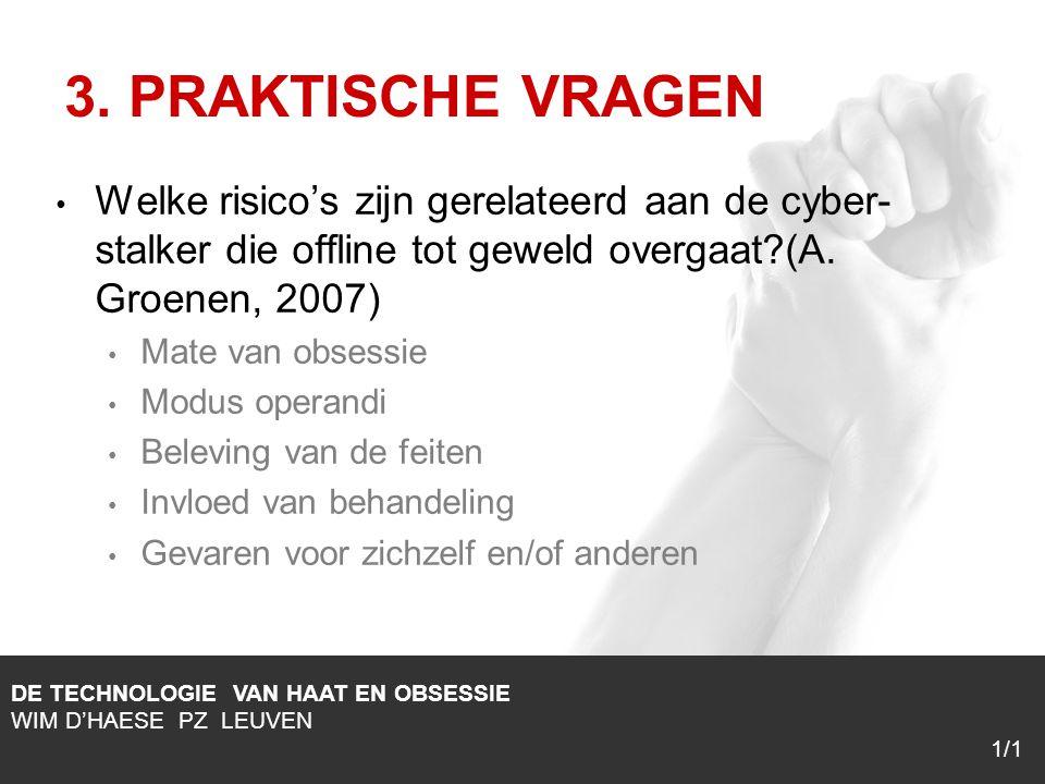 1/1 Welke risico's zijn gerelateerd aan de cyber- stalker die offline tot geweld overgaat?(A.