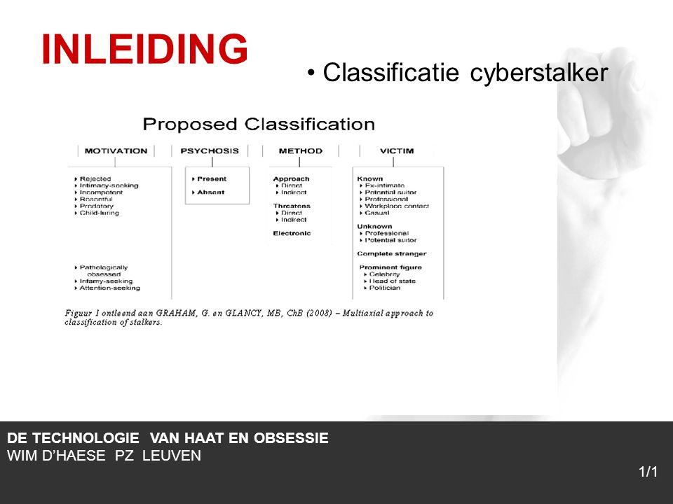 1/1 INLEIDING DE TECHNOLOGIE VAN HAAT EN OBSESSIE WIM D'HAESE PZ LEUVEN Classificatie cyberstalker