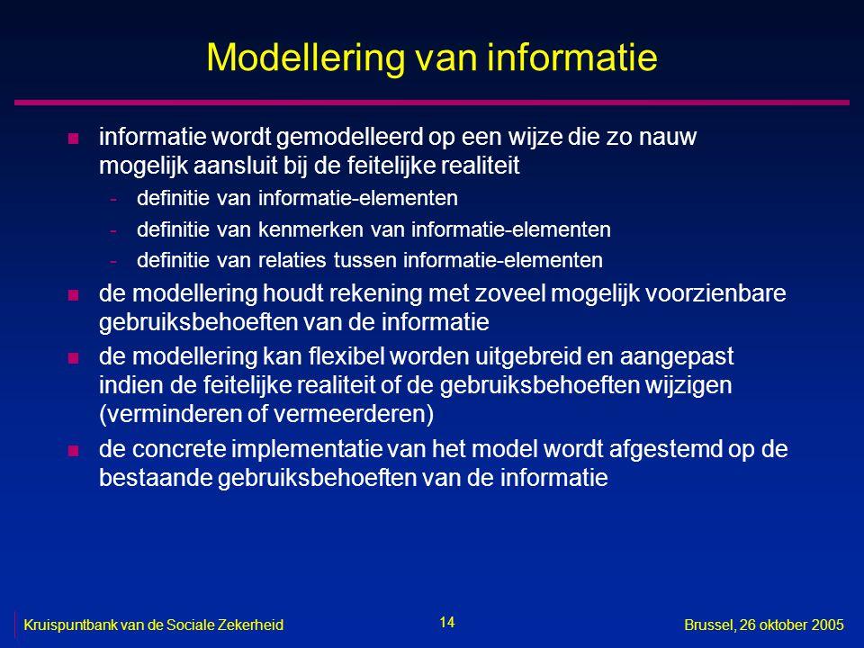 14 Kruispuntbank van de Sociale ZekerheidBrussel, 26 oktober 2005 Modellering van informatie n informatie wordt gemodelleerd op een wijze die zo nauw