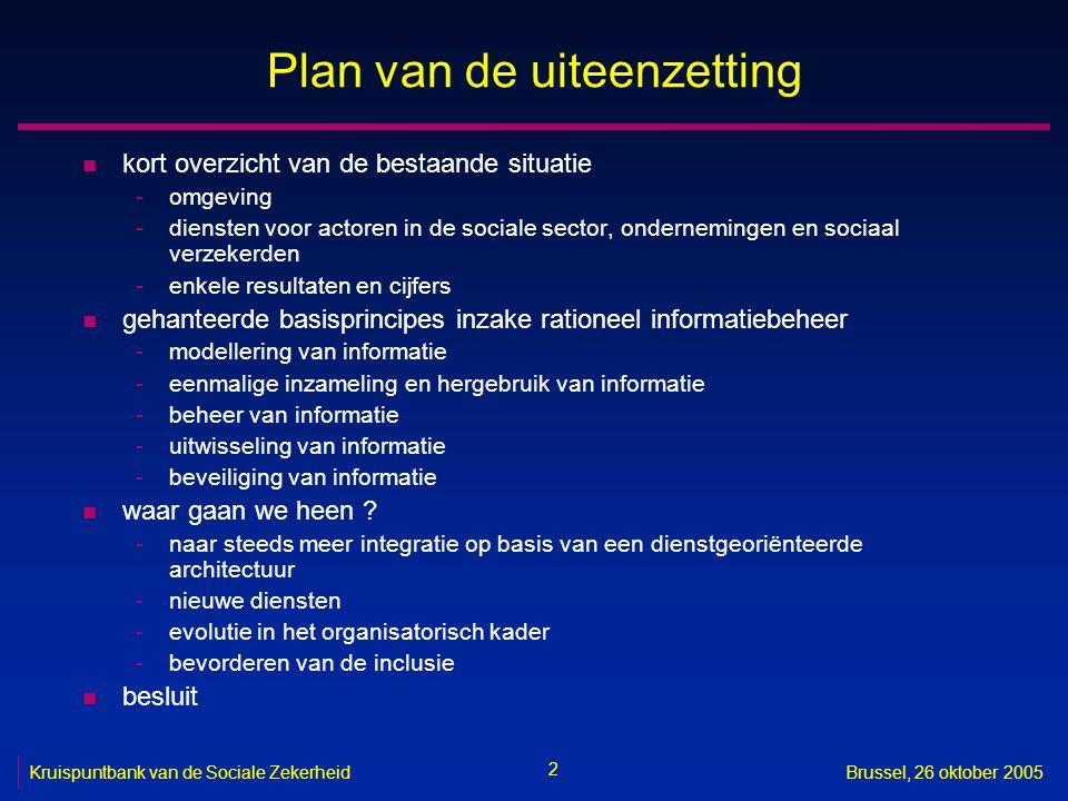 2 Brussel, 26 oktober 2005 Plan van de uiteenzetting n kort overzicht van de bestaande situatie -omgeving -diensten voor actoren in de sociale sector,