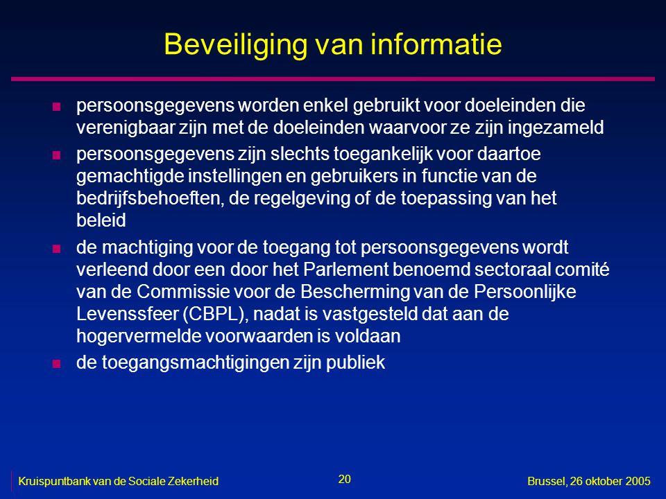 20 Kruispuntbank van de Sociale ZekerheidBrussel, 26 oktober 2005 Beveiliging van informatie n persoonsgegevens worden enkel gebruikt voor doeleinden