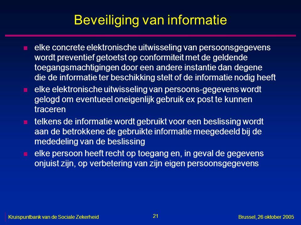 21 Kruispuntbank van de Sociale ZekerheidBrussel, 26 oktober 2005 Beveiliging van informatie n elke concrete elektronische uitwisseling van persoonsge