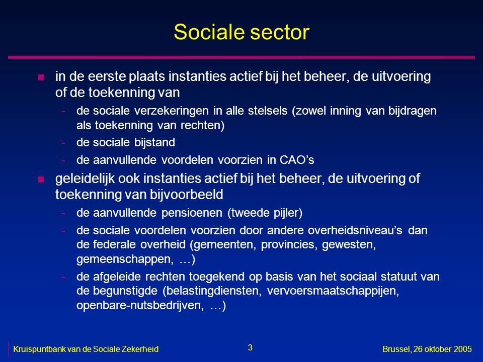 3 Kruispuntbank van de Sociale ZekerheidBrussel, 26 oktober 2005 Sociale sector n in de eerste plaats instanties actief bij het beheer, de uitvoering