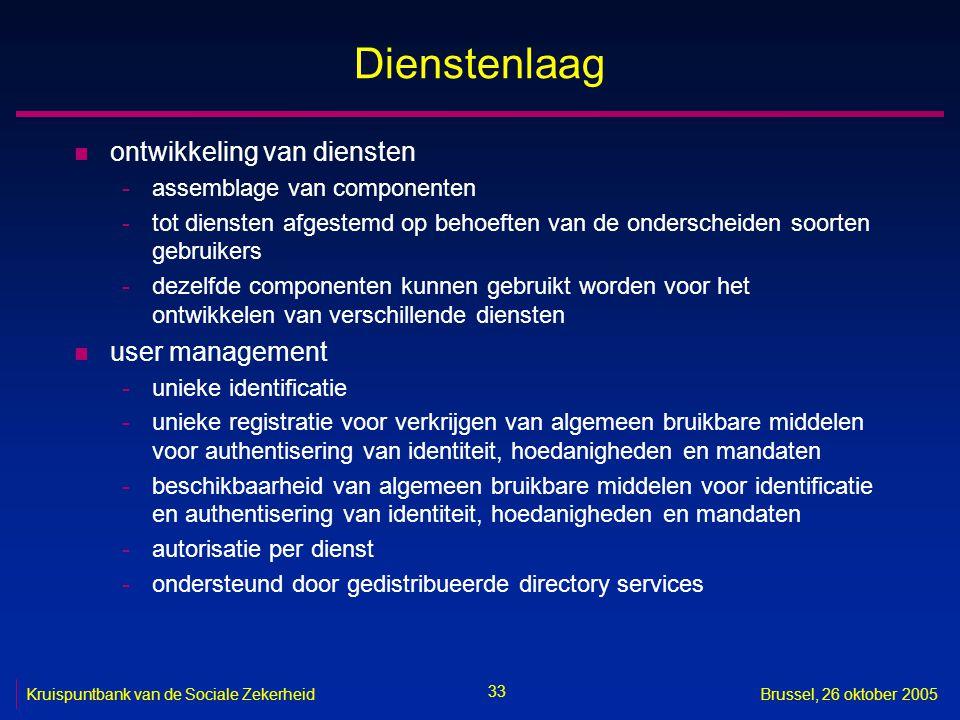 33 Kruispuntbank van de Sociale ZekerheidBrussel, 26 oktober 2005 Dienstenlaag n ontwikkeling van diensten -assemblage van componenten -tot diensten a