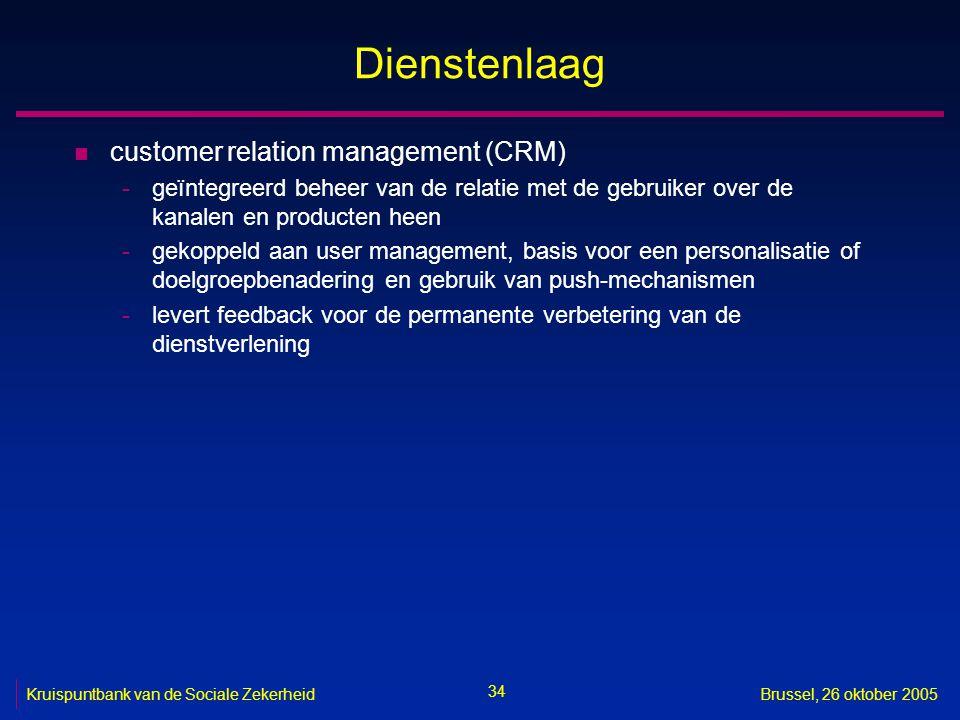 34 Kruispuntbank van de Sociale ZekerheidBrussel, 26 oktober 2005 Dienstenlaag n customer relation management (CRM) -geïntegreerd beheer van de relati