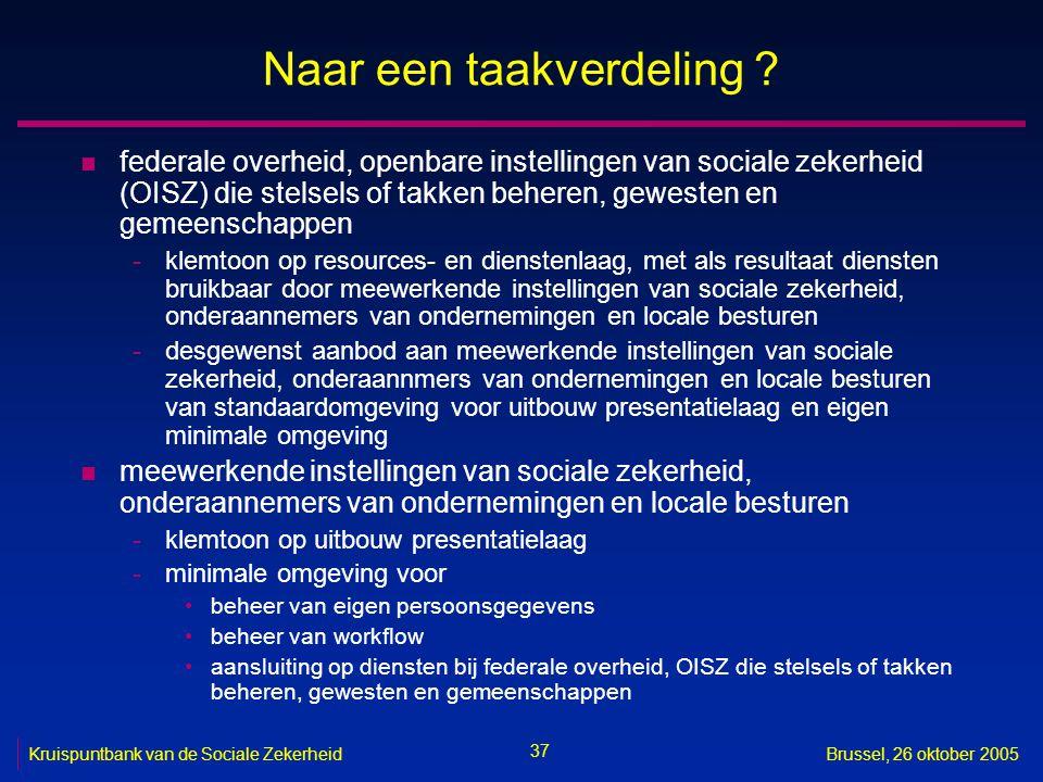 37 Kruispuntbank van de Sociale ZekerheidBrussel, 26 oktober 2005 Naar een taakverdeling .