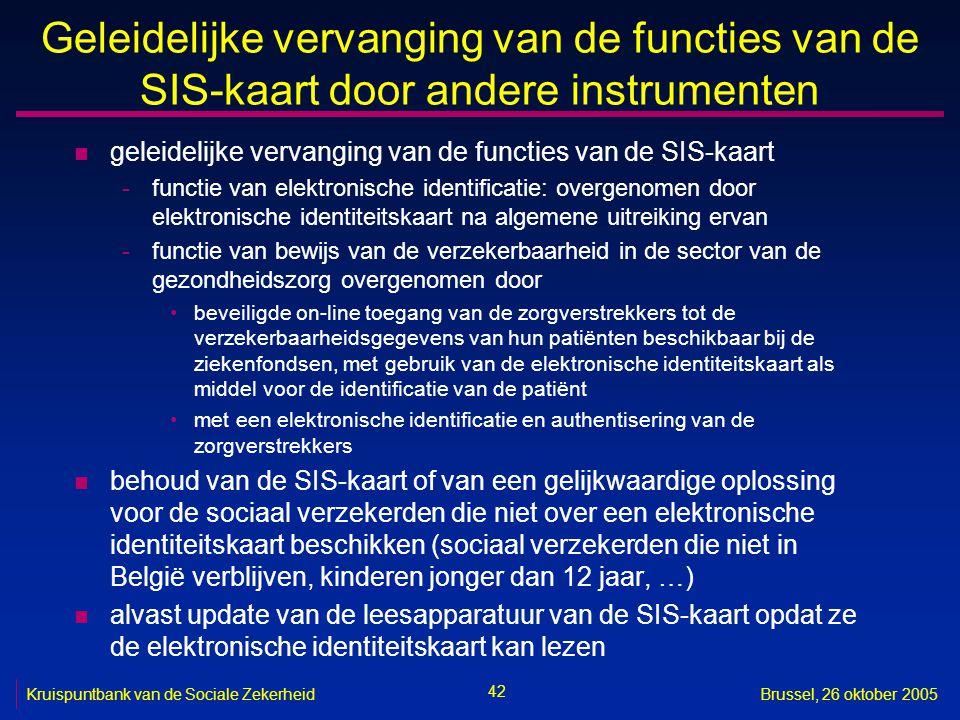 42 Kruispuntbank van de Sociale ZekerheidBrussel, 26 oktober 2005 Geleidelijke vervanging van de functies van de SIS-kaart door andere instrumenten n