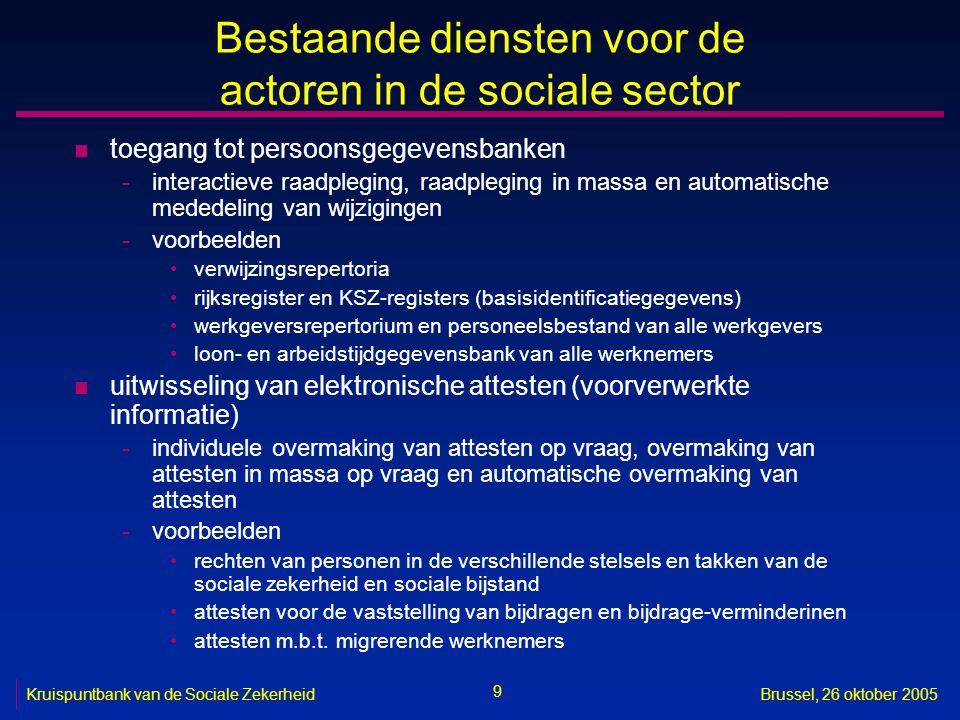 9 Kruispuntbank van de Sociale ZekerheidBrussel, 26 oktober 2005 Bestaande diensten voor de actoren in de sociale sector n toegang tot persoonsgegeven