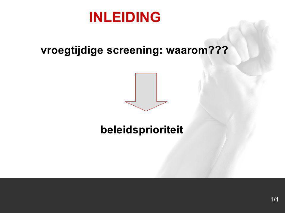 1/1 INLEIDING vroegtijdige screening: waarom??? beleidsprioriteit