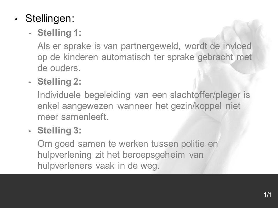 1/1 Stellingen: Stelling 1: Als er sprake is van partnergeweld, wordt de invloed op de kinderen automatisch ter sprake gebracht met de ouders. Stellin