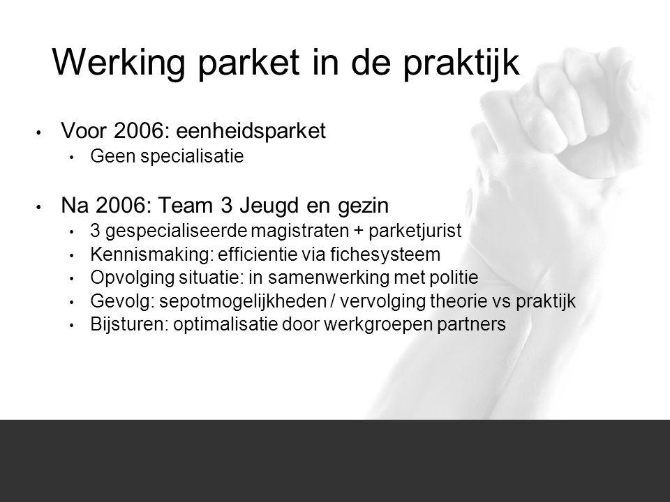 1/1 Voor 2006: eenheidsparket Geen specialisatie Na 2006: Team 3 Jeugd en gezin 3 gespecialiseerde magistraten + parketjurist Kennismaking: efficienti