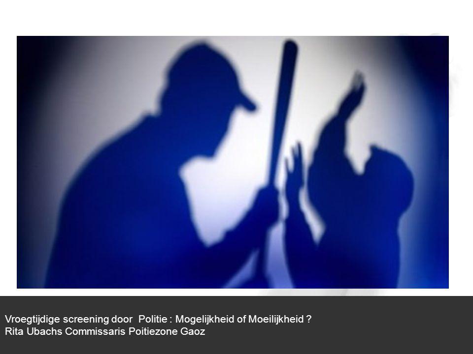1/1 Slachtoffer Dader Echtscheiding Vroegtijdige screening door politie : Mogelijkheid of Moeilijkheid .