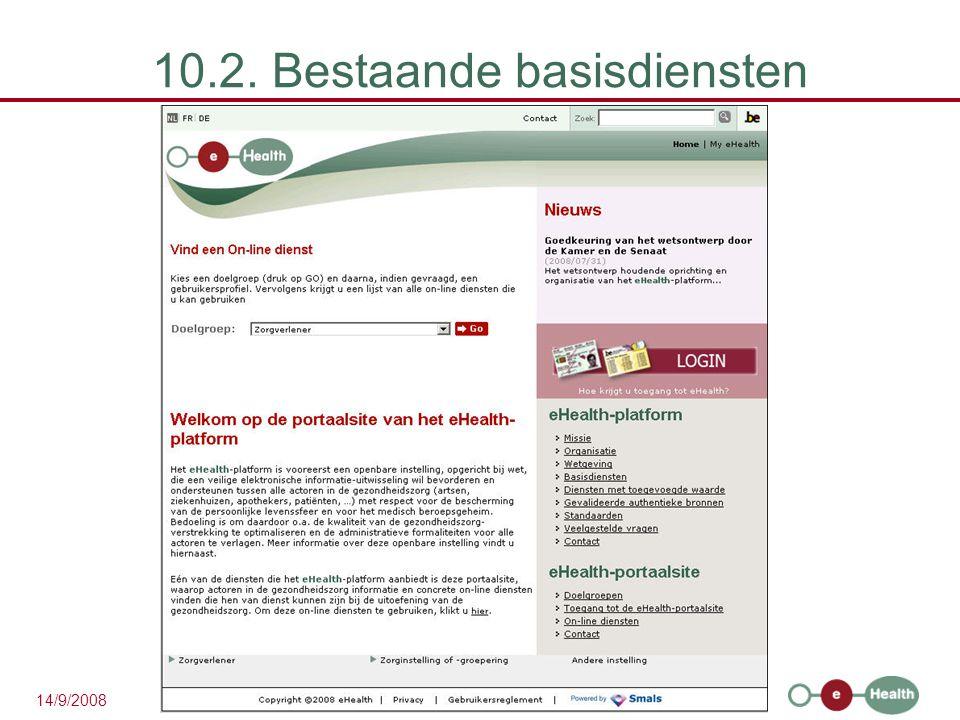 28 14/9/2008 10.2. Bestaande basisdiensten