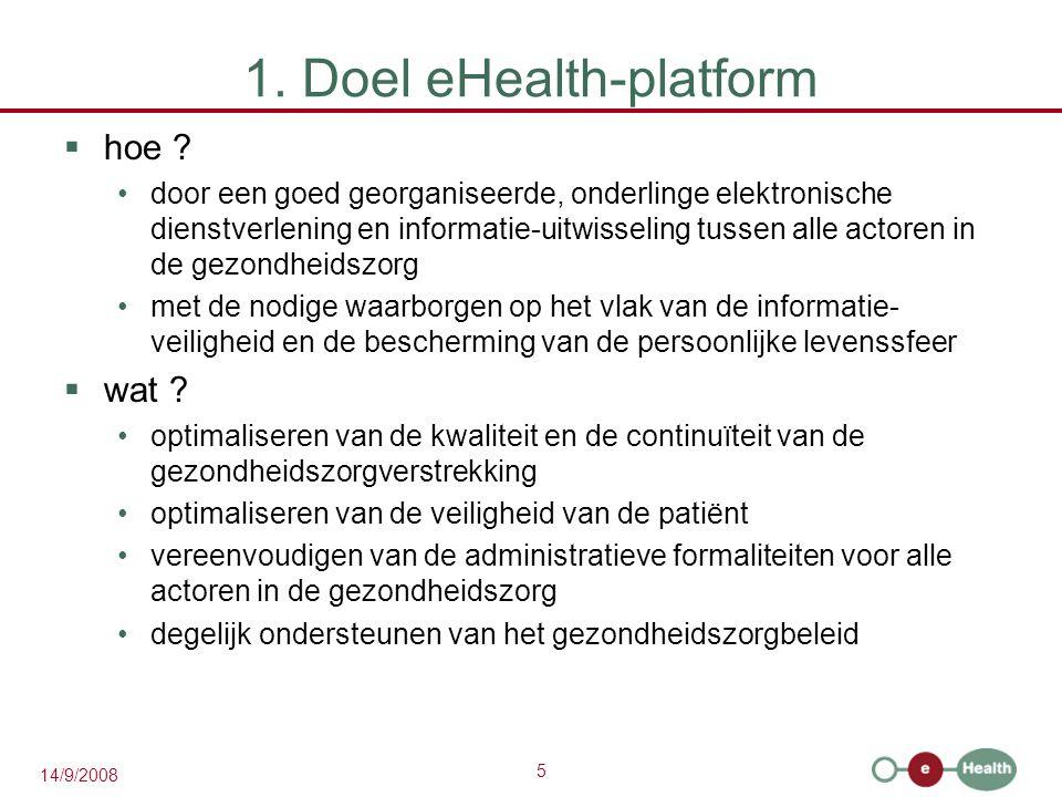 5 14/9/2008 1. Doel eHealth-platform  hoe .