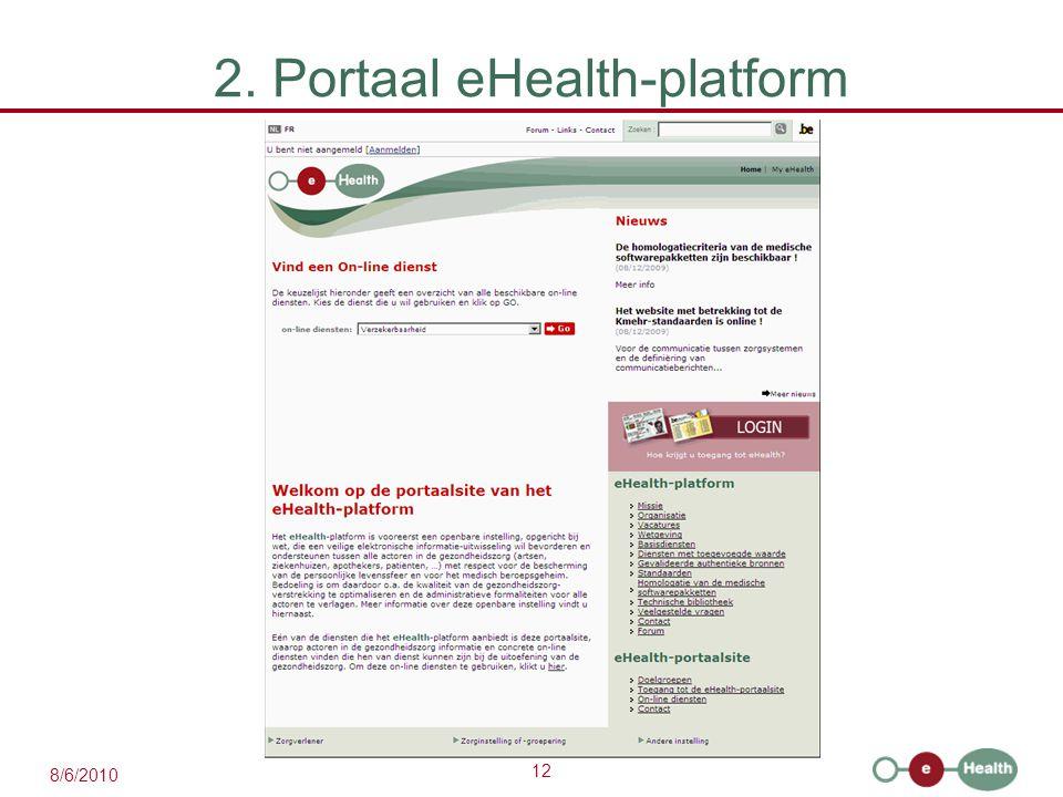 12 8/6/2010 2. Portaal eHealth-platform