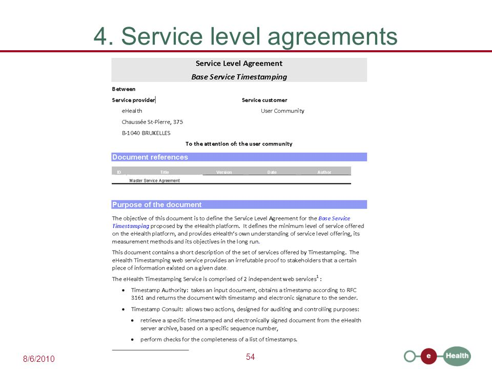54 8/6/2010 4. Service level agreements