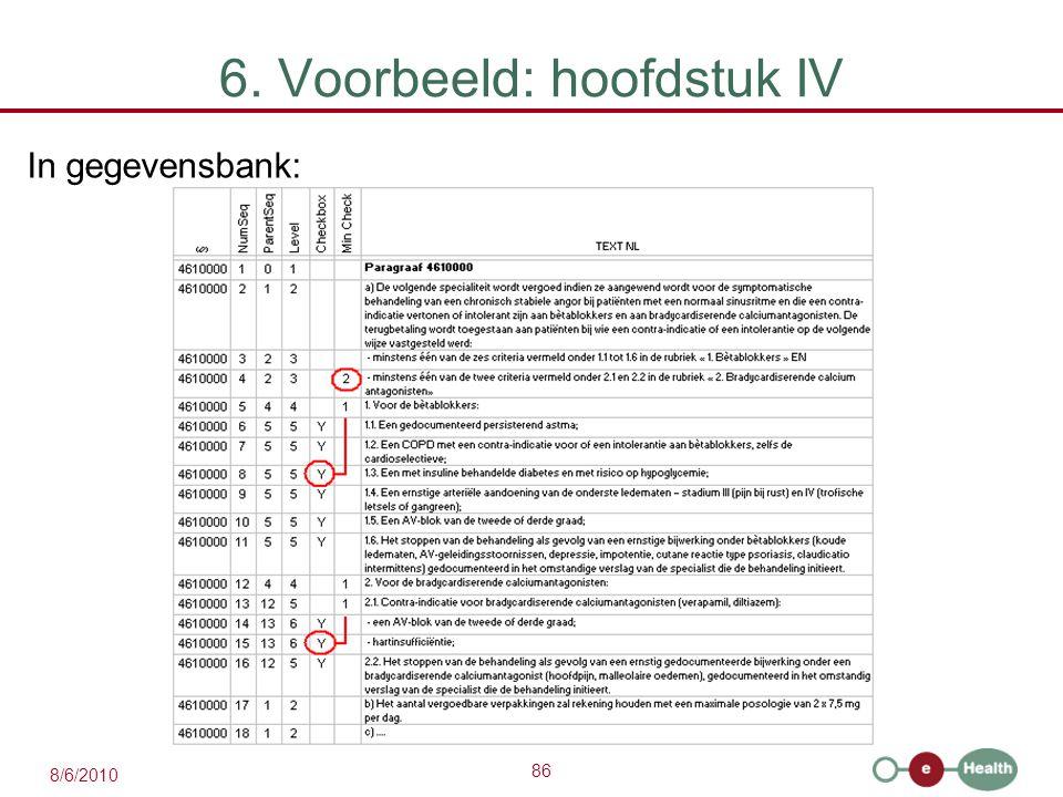 86 8/6/2010 6. Voorbeeld: hoofdstuk IV In gegevensbank: