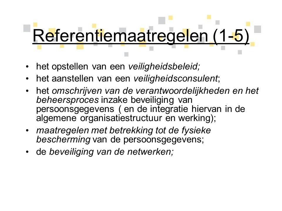 Referentiemaatregelen (1-5) het opstellen van een veiligheidsbeleid; het aanstellen van een veiligheidsconsulent; het omschrijven van de verantwoordel