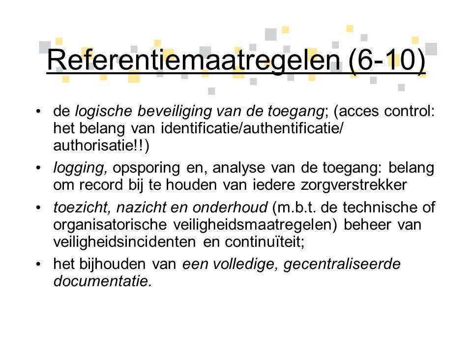 Referentiemaatregelen (6-10) de logische beveiliging van de toegang; (acces control: het belang van identificatie/authentificatie/ authorisatie!!) log