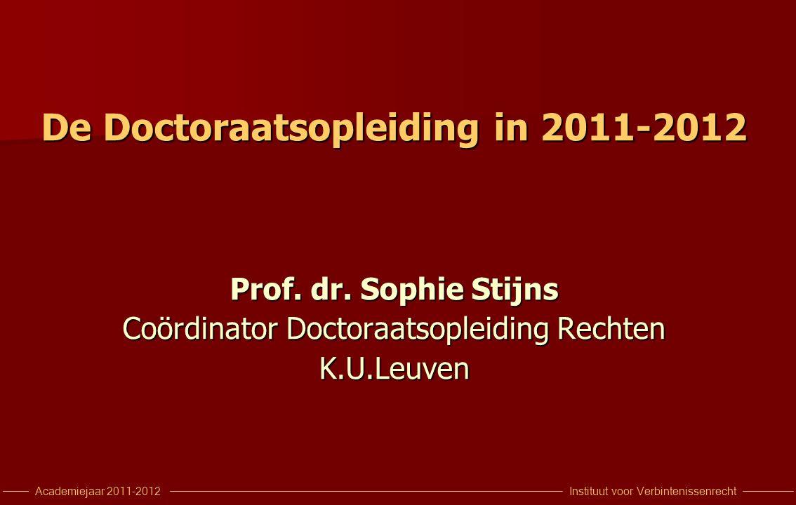 Instituut voor VerbintenissenrechtAcademiejaar 2011-2012 De Doctoraatsopleiding in 2011-2012 Prof.