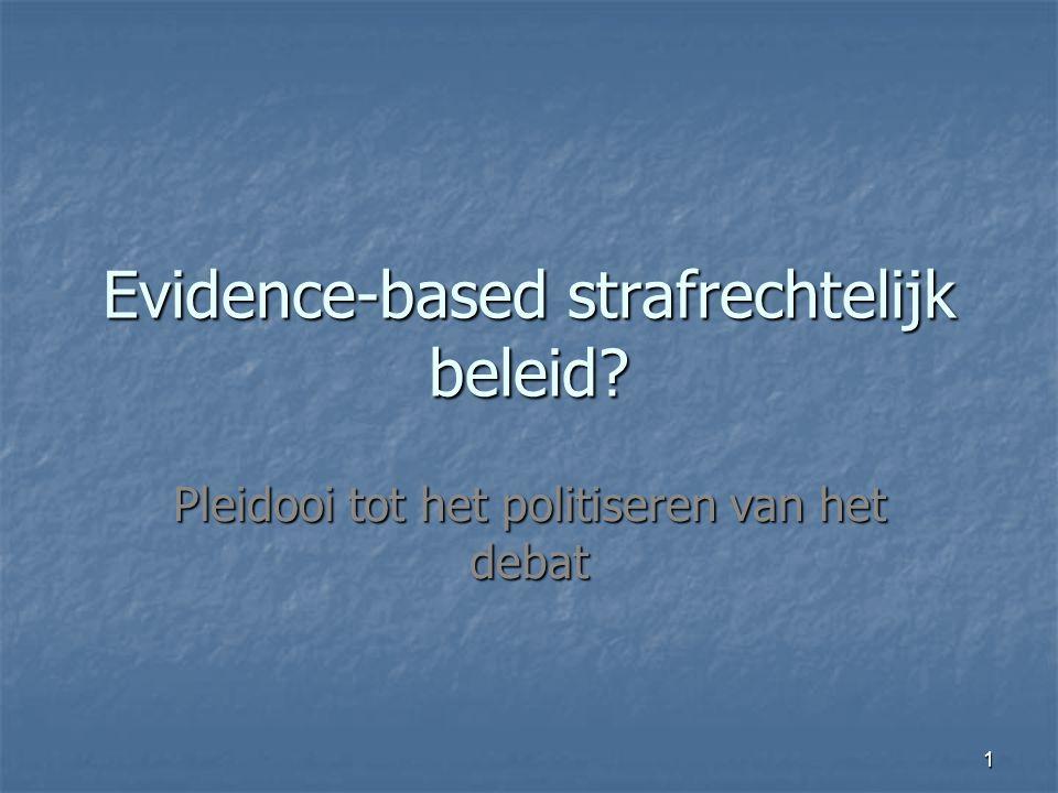 1 Evidence-based strafrechtelijk beleid Pleidooi tot het politiseren van het debat