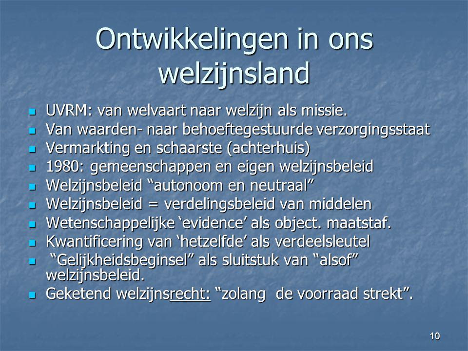 10 Ontwikkelingen in ons welzijnsland UVRM: van welvaart naar welzijn als missie.