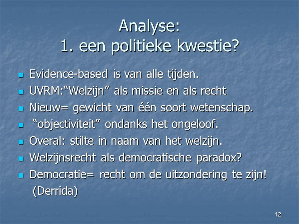 12 Analyse: 1. een politieke kwestie. Evidence-based is van alle tijden.