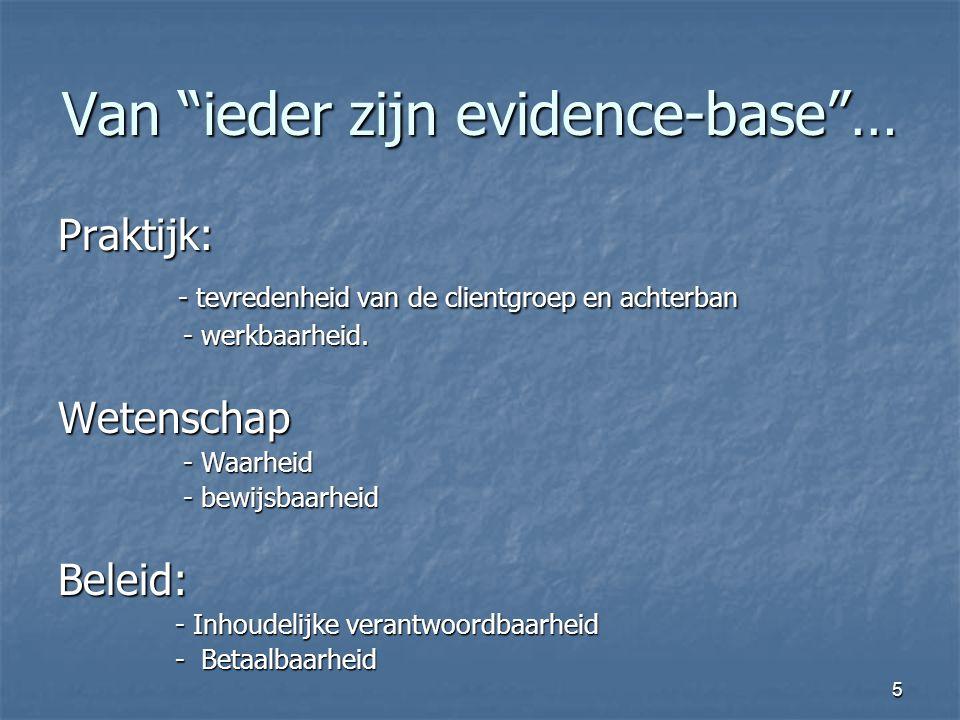 5 Van ieder zijn evidence-base … Praktijk: - tevredenheid van de clientgroep en achterban - tevredenheid van de clientgroep en achterban - werkbaarheid.