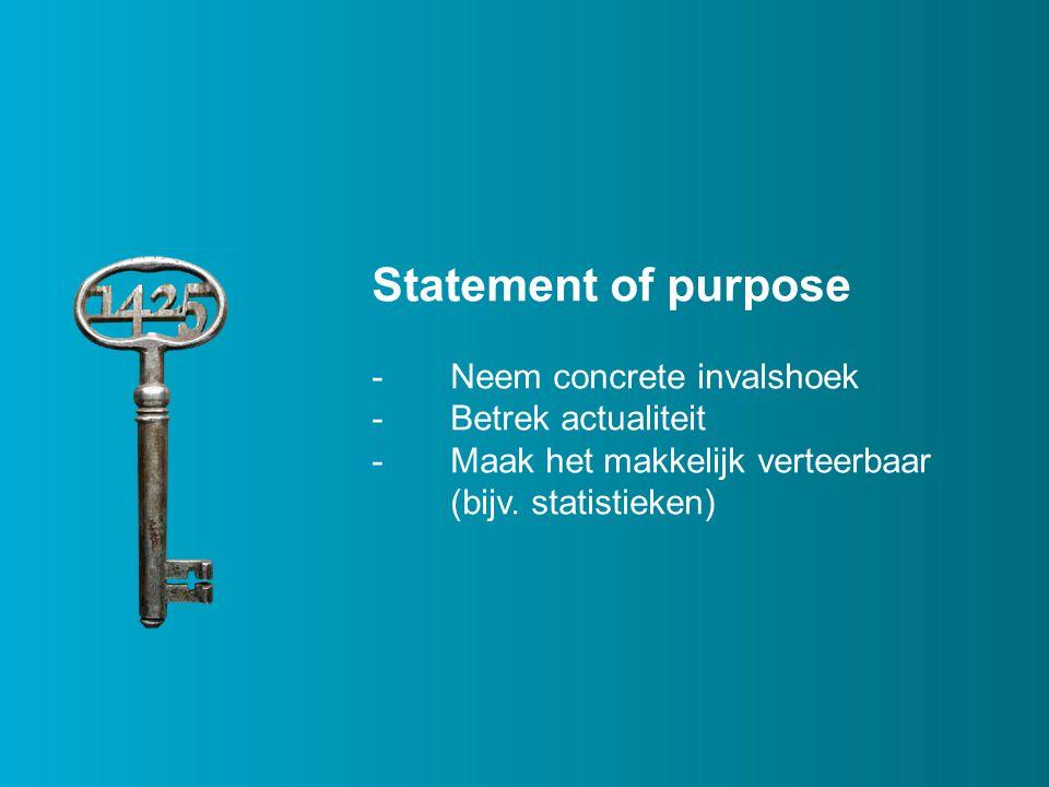 Statement of purpose -Neem concrete invalshoek -Betrek actualiteit -Maak het makkelijk verteerbaar (bijv.