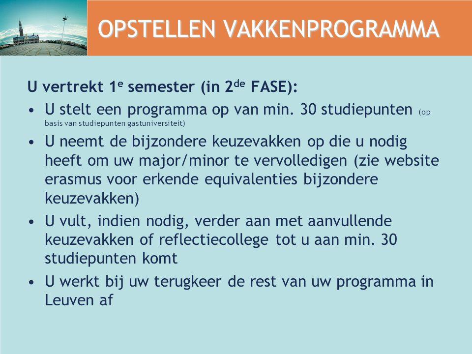 OPSTELLEN VAKKENPROGRAMMA U vertrekt 1 e semester (in 2 de FASE): U stelt een programma op van min.