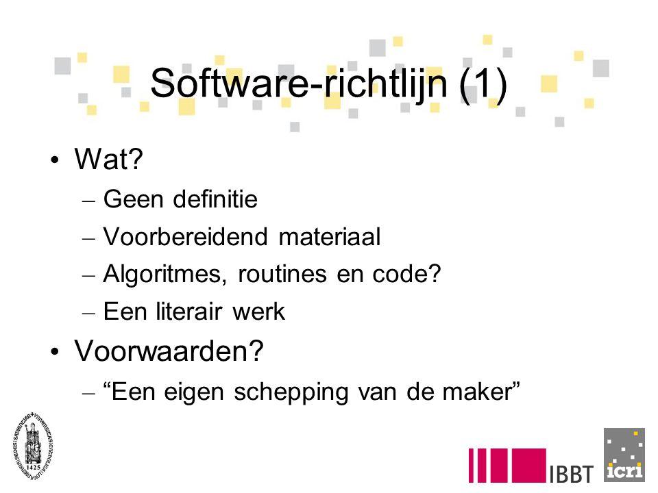 Software-richtlijn (2) Wie is auteur.