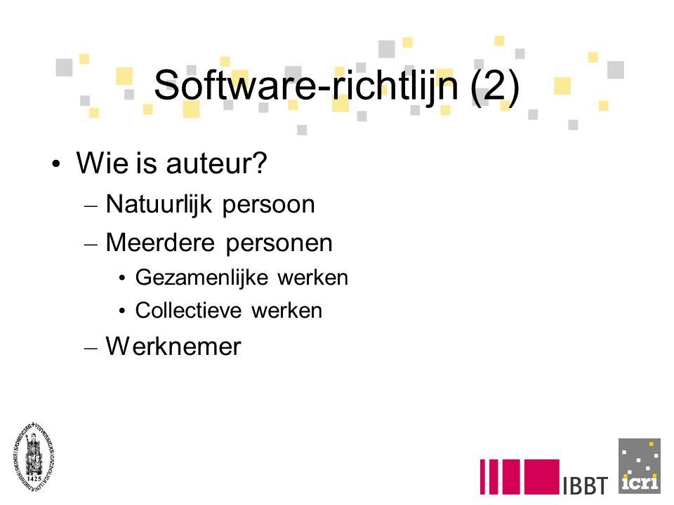 Software-richtlijn (2) Wie is auteur? – Natuurlijk persoon – Meerdere personen Gezamenlijke werken Collectieve werken – Werknemer