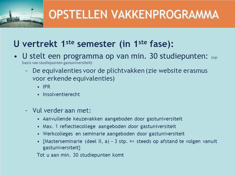 OPSTELLEN VAKKENPROGRAMMA U vertrekt 1 ste semester (in 1 ste fase): U stelt een programma op van min. 30 studiepunten: (op basis van studiepunten gas