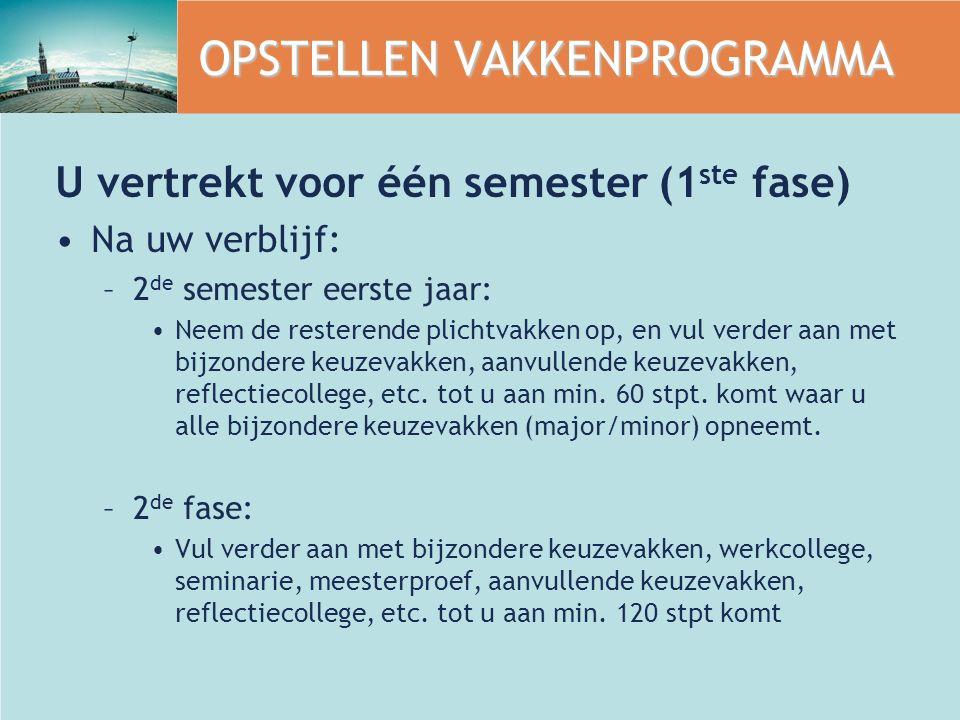 OPSTELLEN VAKKENPROGRAMMA U vertrekt voor één semester (1 ste fase) Na uw verblijf: –2 de semester eerste jaar: Neem de resterende plichtvakken op, en