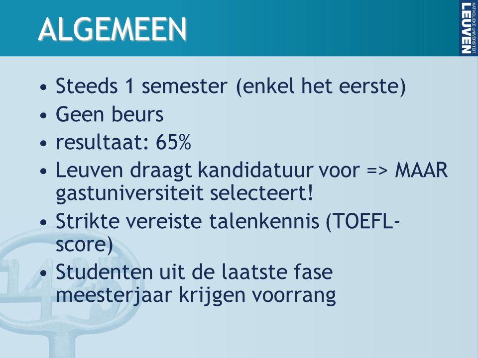 ALGEMEEN Steeds 1 semester (enkel het eerste) Geen beurs resultaat: 65% Leuven draagt kandidatuur voor => MAAR gastuniversiteit selecteert.