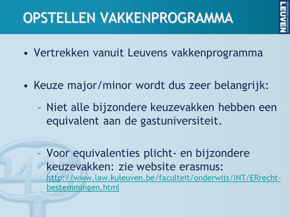 OPSTELLEN VAKKENPROGRAMMA Vertrekken vanuit Leuvens vakkenprogramma Keuze major/minor wordt dus zeer belangrijk: –Niet alle bijzondere keuzevakken hebben een equivalent aan de gastuniversiteit.