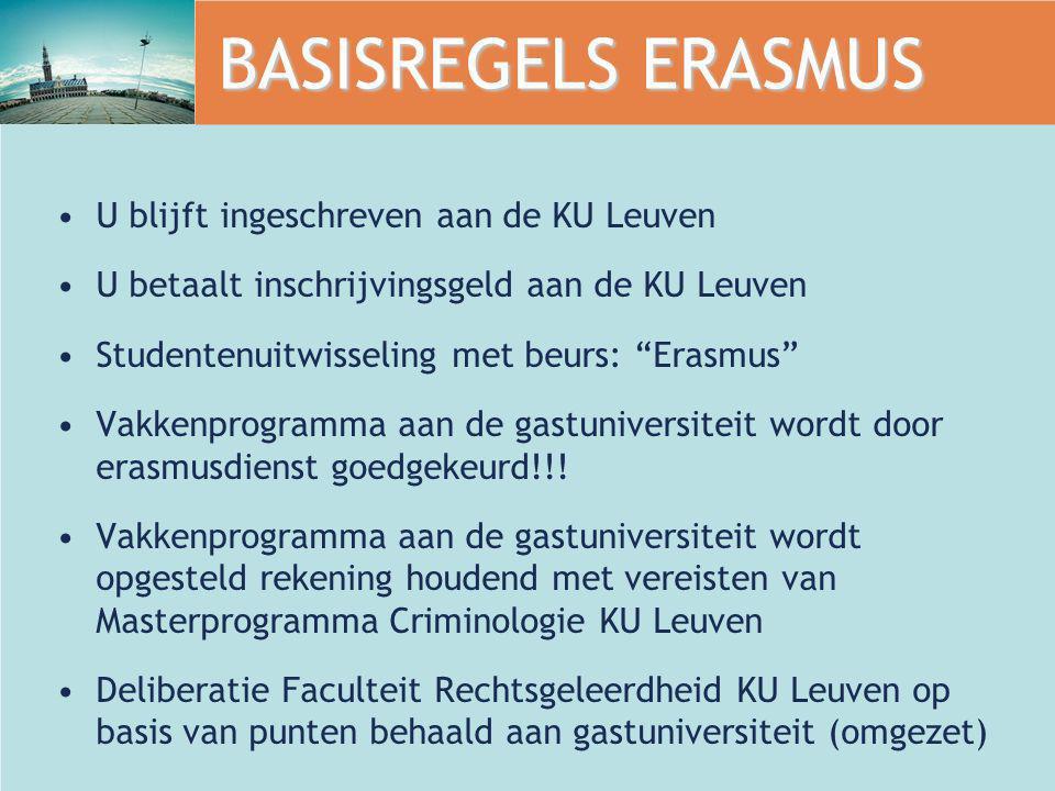 """BASISREGELS ERASMUS U blijft ingeschreven aan de KU Leuven U betaalt inschrijvingsgeld aan de KU Leuven Studentenuitwisseling met beurs: """"Erasmus"""" Vak"""