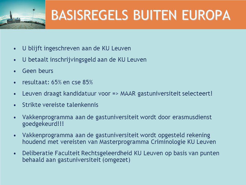 BASISREGELS BUITEN EUROPA U blijft ingeschreven aan de KU Leuven U betaalt inschrijvingsgeld aan de KU Leuven Geen beurs resultaat: 65% en cse 85% Leu