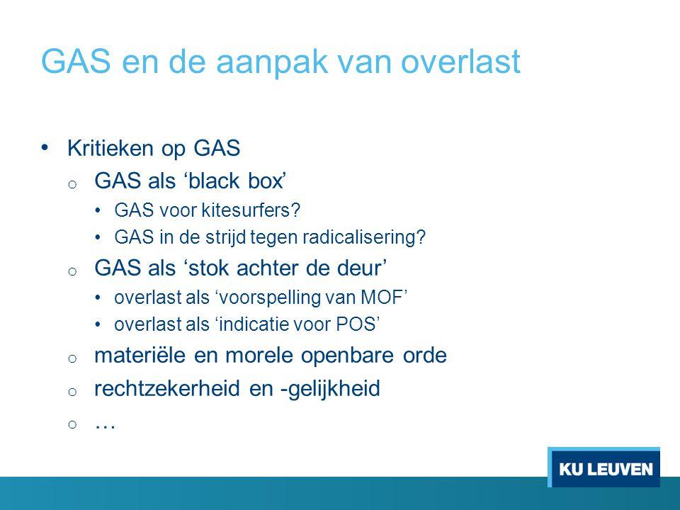 GAS en de aanpak van overlast Kritieken op GAS o GAS als 'black box' GAS voor kitesurfers? GAS in de strijd tegen radicalisering? o GAS als 'stok acht