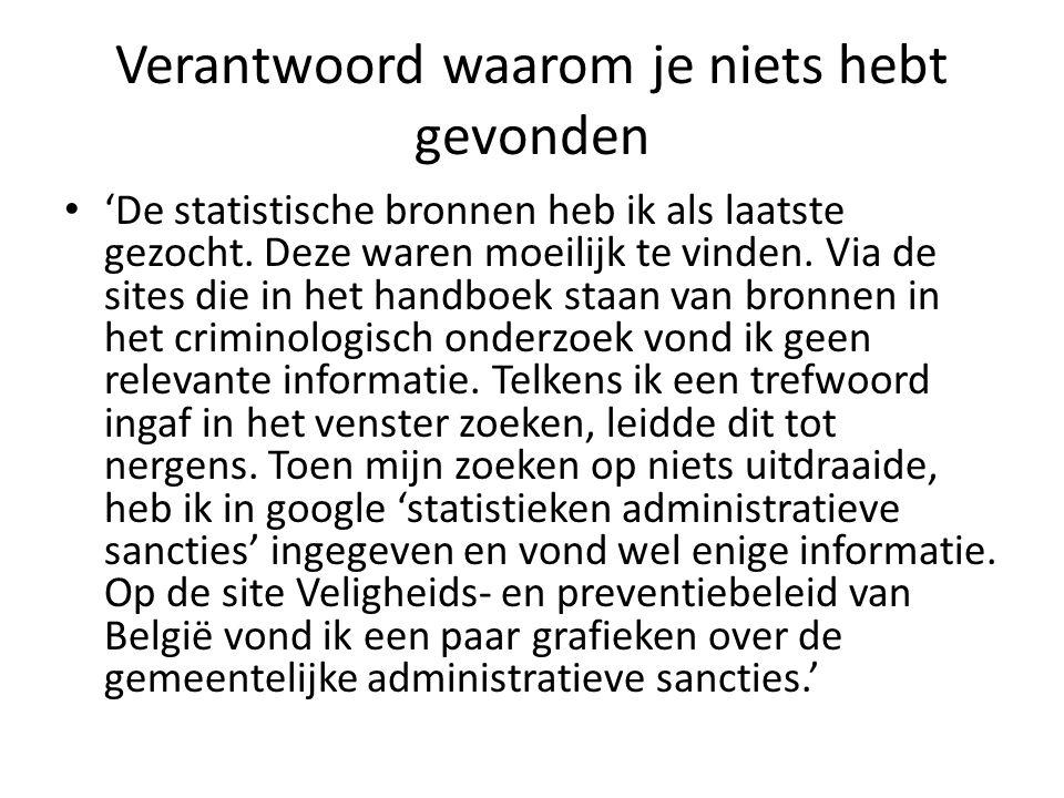Verantwoord waarom je niets hebt gevonden 'De statistische bronnen heb ik als laatste gezocht. Deze waren moeilijk te vinden. Via de sites die in het
